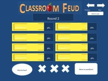 Classroom Feud Template Family Feud Style Game Up To 5 Teams
