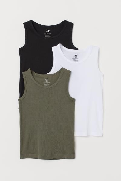 JiAmy Boys Undershirt Girls Tank Tops 100/% Cotton Pajamas 3-Pack