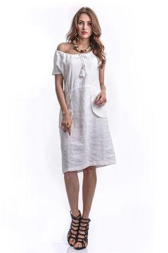 Otantuk Gonul File Cepli Keten Elbise Beyaz Elbise The Dress Elbiseler