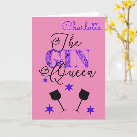 Fun Gin Queen Pink Birthday Card