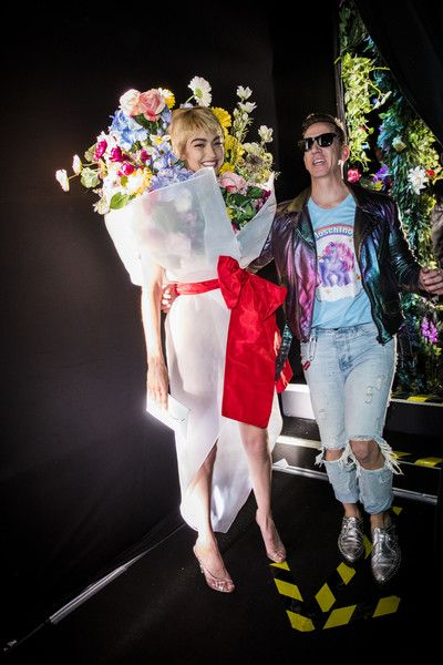 Gigi Hadid and Jeremy Scott are seen backstage ahead of the Moschino show during Milan Fashion Week Spring/Summer 2018 on September 21, 2017 in Milan, Italy.