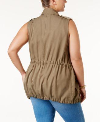 michael michael kors plus size cargo vest - green 0x | cargo vest
