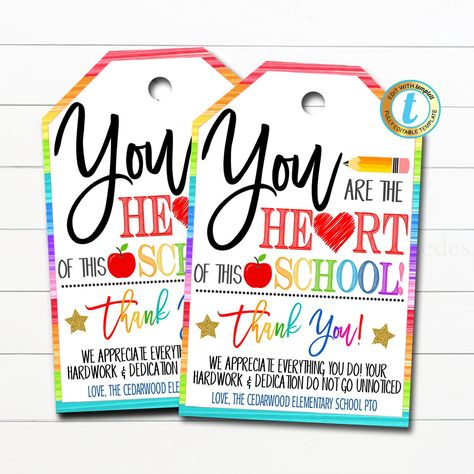 Teacher Thank You Gift Tags, You are the Heart of this School, Teacher Appreciation Week, Valentine's Day Tag, pto pta DIY Editable Template
