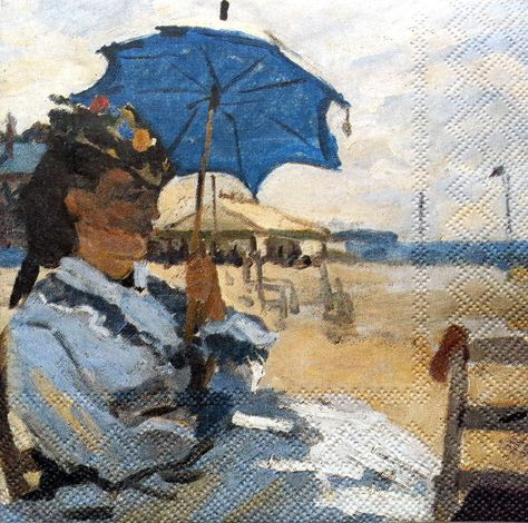 4 Single Vintage Table Paper Napkins for Decoupage Lunch Decopatch Claude Monet