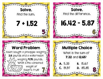 5 Nbt 7 Task Cards Add Subtract Decimals By Kathleen And Mande Task Cards Subtraction Subtracting Decimals