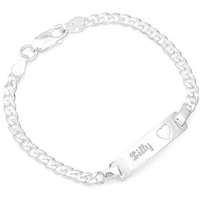 "925 Sterling Silver Girls Boys Children/'s Lady Name ID Cuban Link Bracelet 7/"""