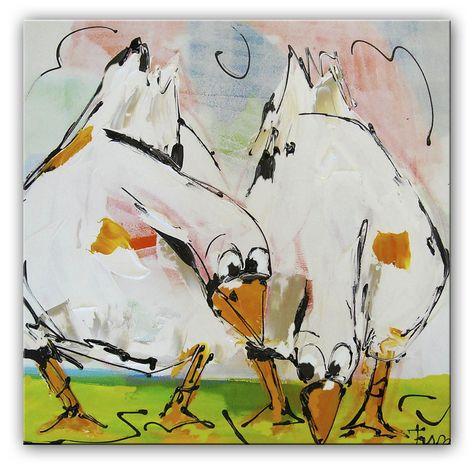 Grazende ganzen Deze ganzen kijken waar het gras groener is, ze zijn er nog niet over uit. Het kleurrijke schilderij is door onze kunstenaars met paletmes geschilderd. Hierdoor is de verf dik opgebracht. De lijnvoering is trefzeker.