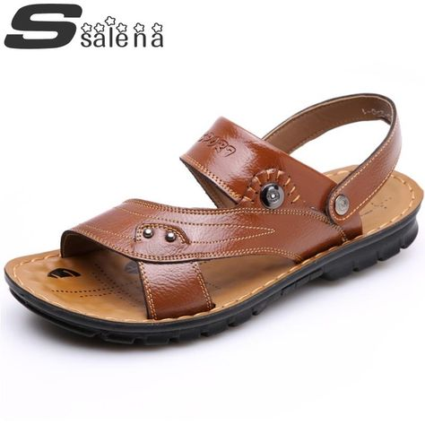 Breathable Men Sandals Summer Men Slippers Comfortable Non Slip Genuine Leather Sandals Outdoor Beach Shoes Size 38 44