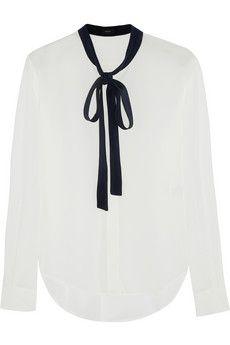 732417110e348 Joseph Donna pussy-bow silk blouse