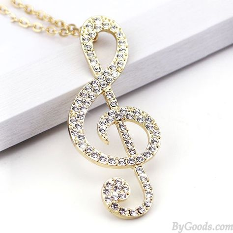 Shining Music Notes Diamond Pendant Stylish Sweater Necklace
