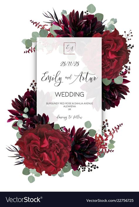 Wedding vector Floral invite, invitation save the date card design. Red vine rose flower, burgundy dahlia, eucalyptus greenery branches and berries boho frame, border. Bohemian stylish layout. Download a Free Preview or High Quality Adobe Illustrator Ai, EPS, PDF and High Resolution JPEG versions.