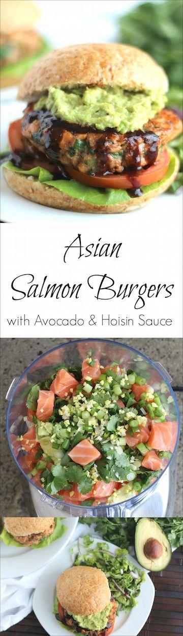 Asian Salmon Burgers with Avocado and Hoisin Sauce