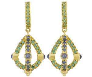 18K Stupa Earrings with Blue Sapphire and Tsavorite