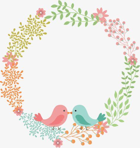 Love bird flower rattan wreath text label, Cartoon Hand Painted, Birdie, Magpie PNG and Vector