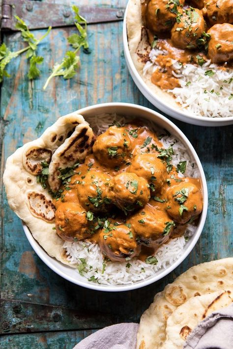 30 Minute Butter Chicken Meatballs | halfbakedharvest.com #meatballs #easyrecipes #Indianrecipes #curry #butterchicken