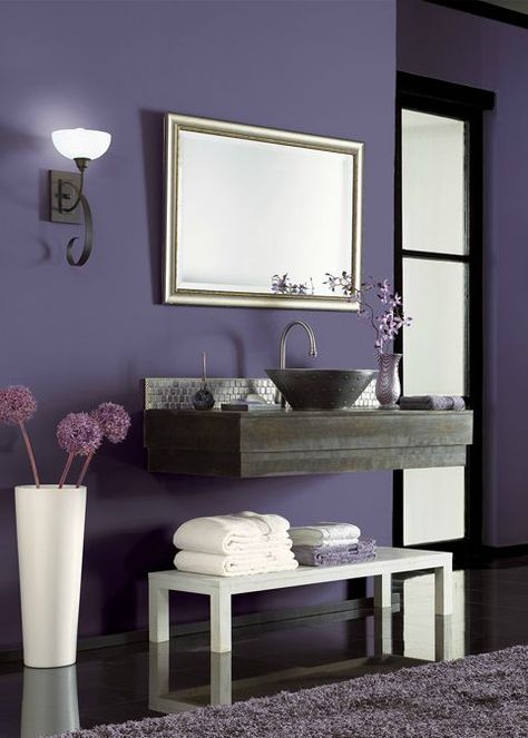 bold behr hyacinth arbor purple adds a dramatic base to on home depot behr paint colors interior id=83011