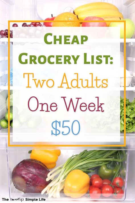 Cheap grocery list for two 50 budget for a week Get the grocery list and weekly menu quite healthy actually Great ideas for saving money and eating frugal meals Fab budge. Cheap Grocery List, Meal Plan Grocery List, Healthy Eating Grocery List, Budget Grocery Lists, College Grocery List, Simple Grocery List, Weekly Shopping List, Aldi Meal Plan, Grocery Store