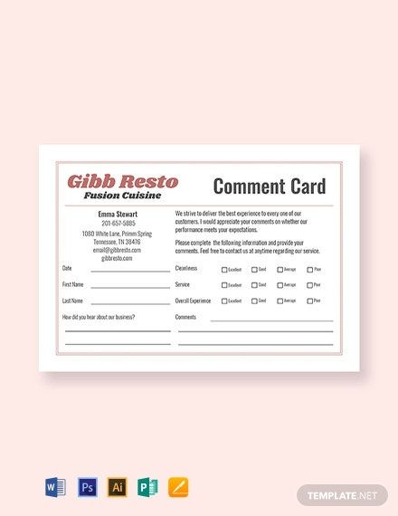 Free Sample Comment Card Template In 2020 Business Card Template Design Card Templates Printable Make Business Cards