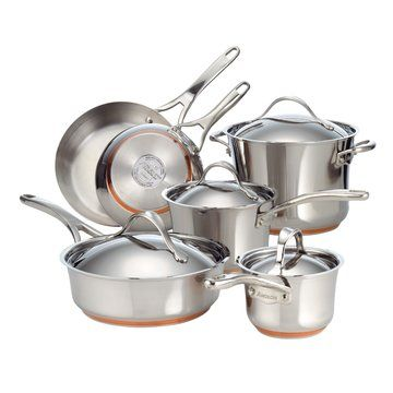 Anolon Nouvelle Copper Stainless Steel 10 Piece Cookware Set Cookware Set Stainless Steel Cookware Set Stainless Steel Cookware