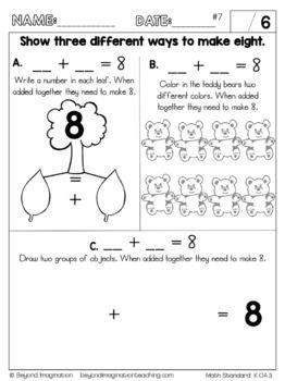 Kindergarten Math Worksheets Addition And Subtraction Common Core Aligned Kindergarten Math Worksheets Addition Kindergarten Math Worksheets Kindergarten Math