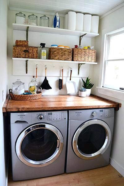 Wall Mounted Shelf Laundry Room Tiny Laundry Rooms Laundry Room Organization Storage Laundry Room Remodel
