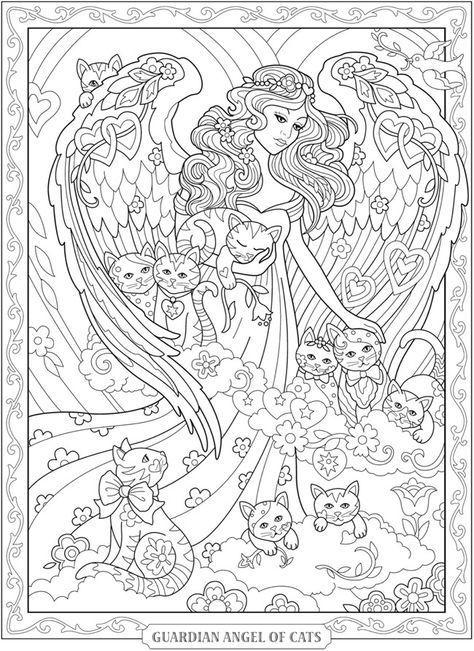 Angel I Kotyata Fei Raskraska Raskraski S Zhivotnymi Raskraski Mandala