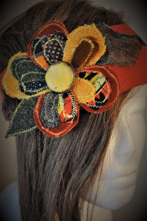 boho headband hair band festival fabric yellow orange upcycled harris tweed  velvet funky hippie flower power hair accessory stretch by edgeofthesand on  Etsy 37f47ea650a
