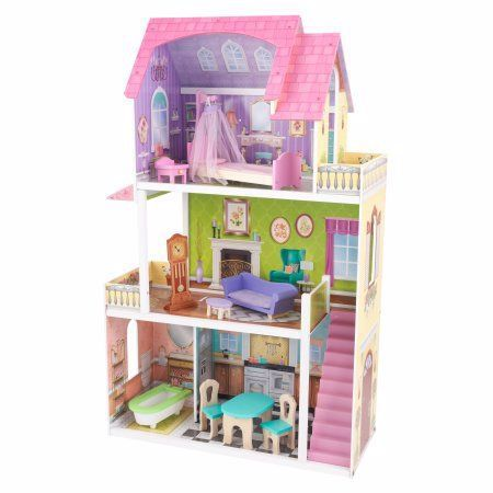 Kidkraft Florence Dollhouse With 10 Accessories Included Multicolor Wooden Dollhouse Doll House Barbie Doll House