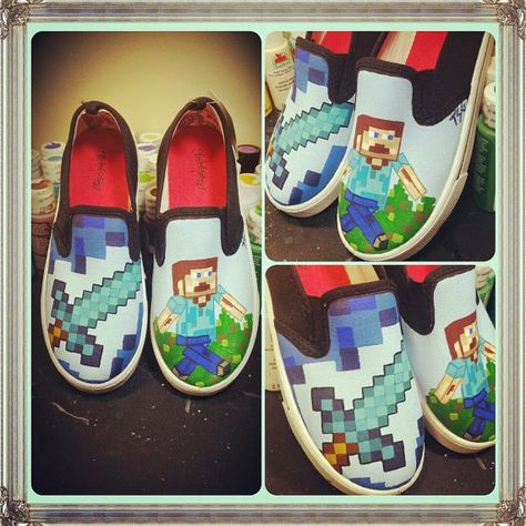Minecraft Shoes Steve by DistractAbstract on Etsy