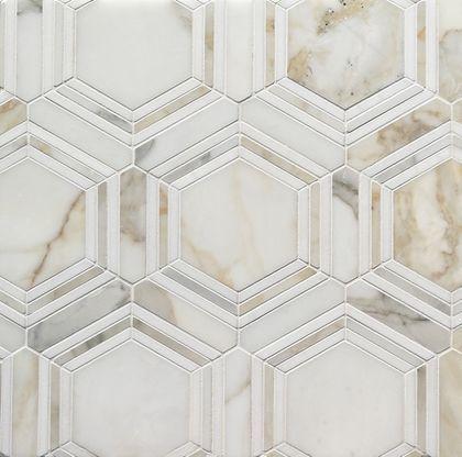 Calacatta Gold Honed Hexagon With Thassos Marble Thin Strip Mosaic Calacatta Gold Marble Calacatta Gold Bathroom Hexagonal Mosaic