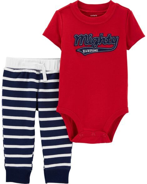 NEW Carter/'s Baby Boys Mighty Cute  3-PC  Shirt /& Bodysuit /& Pants Set