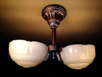 ART DECO GLASS SLIP SHADE CUSTARD CHANDELIER SCONCE LIGHT FIXTURE RESTORATION