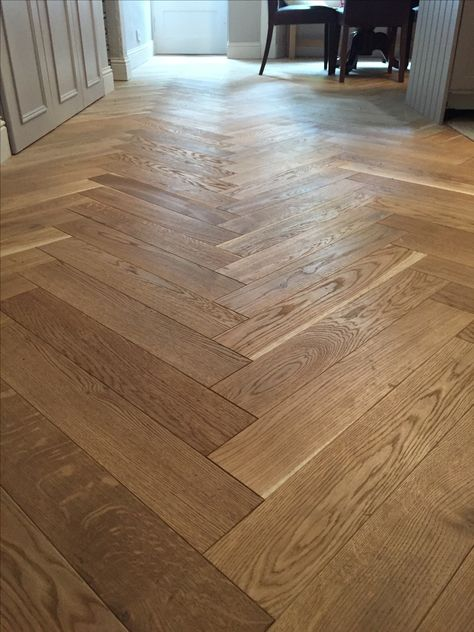 Solid Oak Parquet Flooring. 15mm/100mm/500mm, Light Wire Brushed, Light Smoked.   Recently completed project, wood supplied and installed by Unique Bespoke Wood professional team.