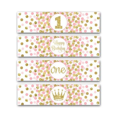 Little Princess Party Water Bottle Labels Girl 1st Birthday Party Decorations First Birthday Party P