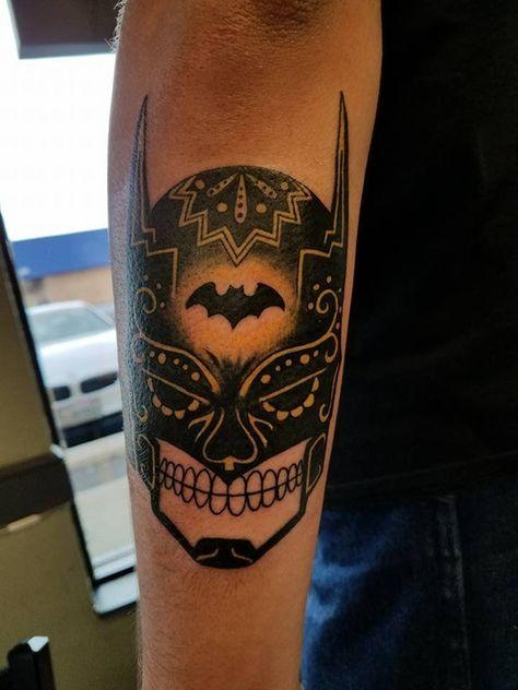 Newest Tattoo - Batman inspired Sugar Skull : tattoo