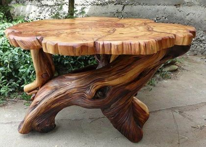 45 Amazing Ideas With Recycled Tree Trunks In 2020 Tree Stump Furniture Diy Outdoor Table Stump Coffee Table