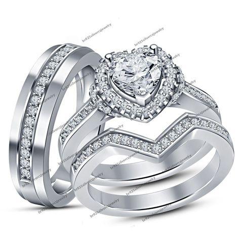 Pure 925 Silver His Hers Heart Shape Simulated Diamond Wedding Trio Ring Set 2CT #br925silverczjewelry #WeddingAnniversaryEngagementPartyGift