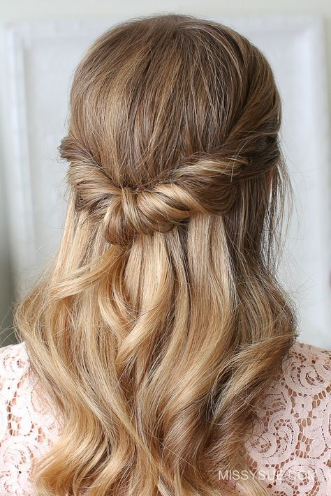 Looped Half Updo Medium Hair Styles Easy Work Hairstyles Easy