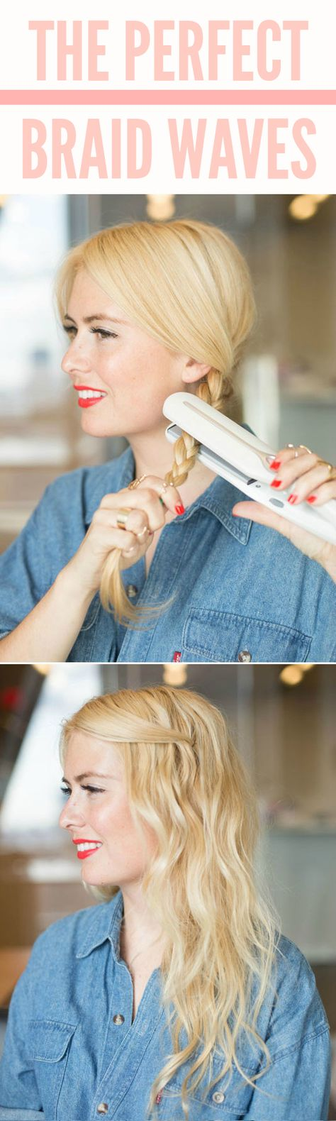 Braid your hair, then heat it up by pressing a flat iron over it to make imperfect waves. Check out the website to see more