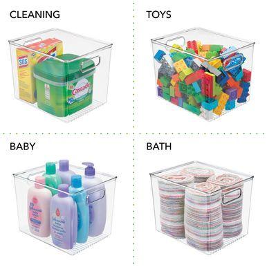 Large Plastic Kids Toy Box Storage Bin With Handles 10 X 8 X 7 75 In 2020 Food Storage Organization Storage Bins Art Supplies Storage