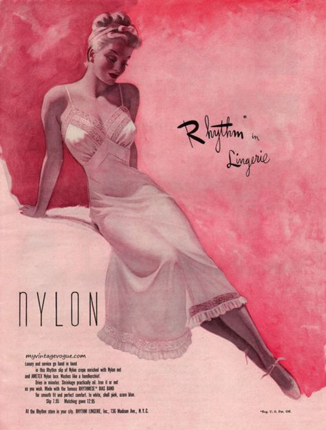 Rhythm Lingerie advertisement, 1950.