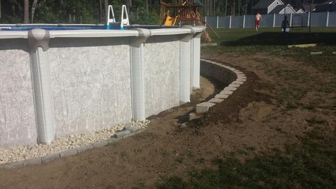 New Small Retaining Wall Around Ag Pool Above Ground Pool Landscaping Pool Retaining Wall Small Retaining Wall