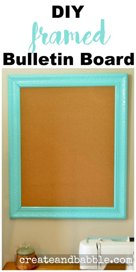 I made framed bulletin boards from old framed prints that I found at a yardsale. I removed the glass and print and inserted cork board. The frame was painted with a glossy aqua paint.