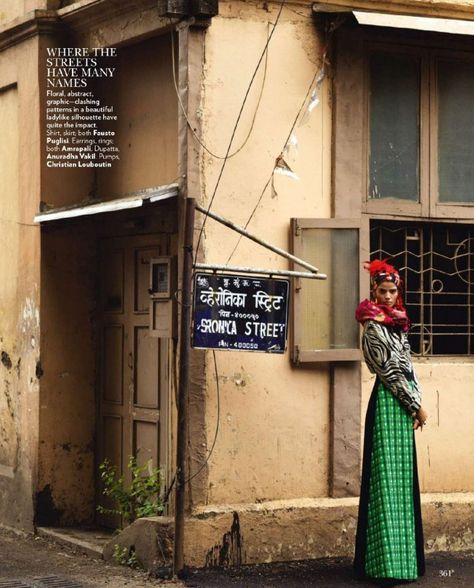 Model Bhumika Arora poses on the streets of Bandra, one of the coolest places in India, for the latest issue of Vogue India photographed by Bharat Sikka. The indian beauty wears looks from the fall ...