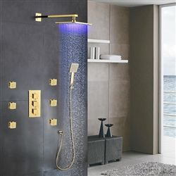 Gold Showers On Sale Large Selection Fontana Versilia Gold Finish Color Changing Led Shower Head With Adjustable Body Jets And Brass Thermostatic Mixer In 2020 Dingen Om Te Kopen