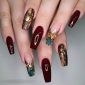 Fall Acrylic Nail Design for Your Love