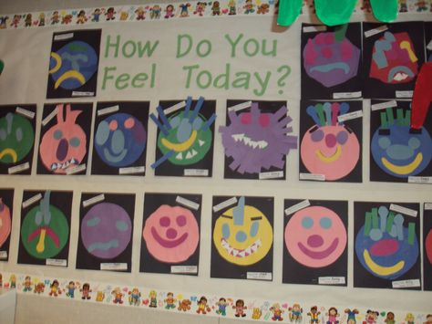 """How do you feel today """"monster"""" we made after reading Glad Monster, Sad Monster.  The students dictated how their monster felt for feelings week."""