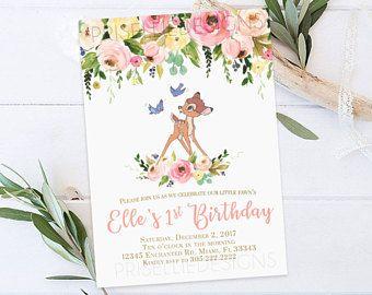 Bambi Boy Birthday Invites Deer Birthday Invitations Woodland Bambi Birthday Invites Gold Glitter Birthday Invites Blue Boy Birthday Party