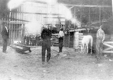 The Infamous lynching of Jim Miller, Jesse West, Joe Allen, and D.B. Burrell. Ada, OK. These men were charged with the murder of Gus Bobbitt. This marked the end of what was for years one of the bloodiest band of murderers in the state of Oklahoma and the entire southwest. And at 3:00 pm on April 19, 1909, 200 determined townsmen overpowered jailers, took the men from their cells and strung them to rafters in the nearby old stable.