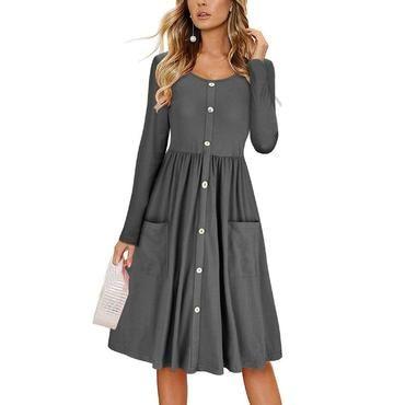 eb7898e4ae4 2018 New Autumn Winter Dress Women Long Sleeve Button Pocket Slim  Elegantrricdress